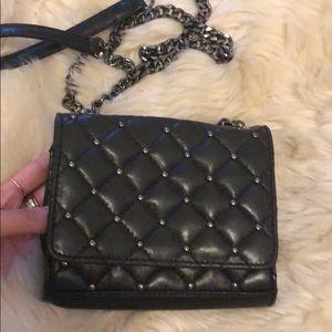 Handbags - Black/Dark Grey Studded Chain Crossbody Bag